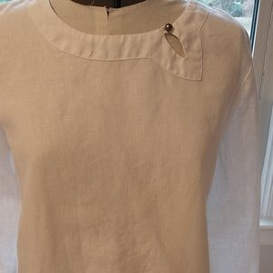 Hot Cotton Tops - White Lien Eyelet Top By Hot Cotton